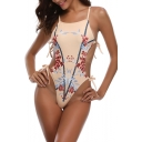 Womens Unique Tied Up Side Cutout Floral Printed High Leg One Piece Swimsuit