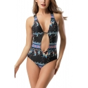 Summer Holiday Boho Style Fashion Printed Sexy Cutout Womens Black One Piece Swimsuit
