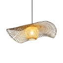 Dining Room Beige Ceiling Light Fixture Single Light Rustic Style Rattan Pendant Light