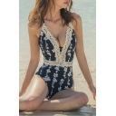 Trendy Chic Lace Trim Plunged Neck Black Floral Print Womens One Piece Swimsuit