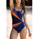 Womens New Chic Color Block Scoop Neck Knotted Blue One Piece Swimsuit Swimwear