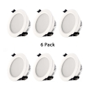 (6 Pack)5/6 Inch Circle Flush Mount Recessed 12/18W LED Light Fixture Recessed for Meeting Room Hallway