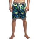 Summer Holiday Tropical Lemon Printed Drawstring Waist Blue Casual Swim Trunks