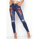 Fashion Rose Floral Embroidery Raw Edge Ripped Dark Blue Skinny Fit Jeans for Women