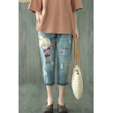 Blue Drawstring Waist Cartoon Girl Embroidery Ripped Cropped Straight Jeans