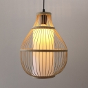 Pear Shape Ceiling Light Fixture Dining Room Bamboo Single Light Rustic Style Pendant Light in Beige