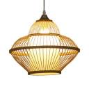 Dining Room Kitchen Ceiling Light with Shade Bamboo Vintage Style Single Light Beige Ceiling Fixture