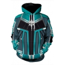 3D Printing Long Sleeve Sport Loose Cosplay Costume Hoodie in Blue