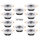 (10 Pack)10/20/30W LED Recessed Down Light with Heat Sink Round COB Light Fixture Recessed in White/Warm White