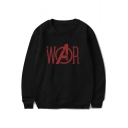 Simple Letter WAR Pattern Basic Long Sleeve Round Neck Regular Fit Sweatshirt