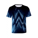 Fashion Cool Blue Double Letter W Printed Short Sleeve Unisex T-Shirt
