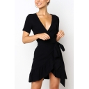 Womens Basic Simple Plain Surplice V-Neck Ruffled Hem Mini Wrap Dress