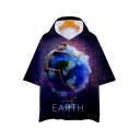 Funny Purple Galaxy Figure Earth Print Hooded Loose Relaxed T-Shirt
