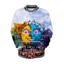 Tomorrowland Cute Cartoon Sun Pattern Stand Collar Button Down Baseball Jacket