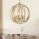 Metal Globe Shape Chandelier Living Room 1/3 Light American Rustic LED Pendant Lighting in Gold