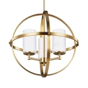 Traditional Globe Shape Chandelier Light 3/5 Lights Metal Hanging Lamp in Brass/Chrome for Restaurant Cafe