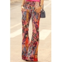 Summer New Fashion Floral Printed Button-Fly Women's Flare Pants