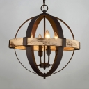 Candle Pendant Light with Wood and Metal Globe Shade 4 Lights Antique Style Chandelier for Dining Room