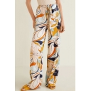 Womens Fashion Yellow Floral Printed Tied Waist Floor Length Wide-Leg Palazzo Pants