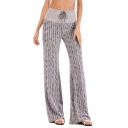 Women's New Trendy Stripe Printed Drawstring Waist High Rise Lounge Yoga Pants Wide Leg Baggy Pants