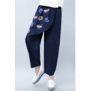 Women's Vintage Summer Tribal Floral Embroidery Casual Loose Fit Linen Pants