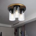 Metal and Glass Cylinder Ceiling Light Kitchen Dining Room 3 Lights Industrial Flush Ceiling Light