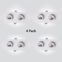 (4 Pack)Aluminum Rectangle Recessed Down Light Dining Room Bathroom 24W 2 Lights Flush Mount Recessed in White/Warm
