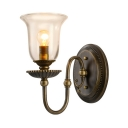 Bell Shape Hallway Foyer Wall Light Metal and Glass Single Light Industrial Sconce Light in Bronze