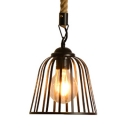 Metal and Rope Bell Hanging Lamp Single Light Industrial Hanging Light in Black for Kitchen Restaurant