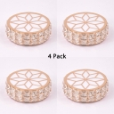 (4 Pack)5W Round Light Fixture with Clear Crystal Decoration 2-4 Inch Elegant Flush Mount Light in White/Warm