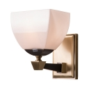 Frosted Glass Metal Wall Light with White Shade 1 Light Traditional Sconce Light for Bedroom Hotel