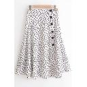 New Trendy Classic Polka Dot Printed Button Down Side White Chiffon Flowy Skirt