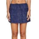 Womens Tied Waist High Rise Dark Blue Mini Swimwear Skirt