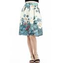Women's Unique Vintage Floral Pattern Midi A-Line Swing Skirt