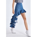 New Stylish Designer Unique Irregular Ruffled Hem Asymmetrical Blue Denim Skirt