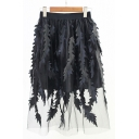 Unique Stylish Feather Embellished Midi A-Line Gauze Skirt