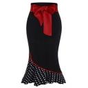 Unique Fashion Red Bow-Tied Waist Polka Dot Print Hem Midi Black Ruffled Fishtail Skirt