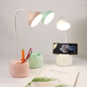 Bowl Shape LED Desk Light with USB Charging Port Flexible Goose Neck White/Pink/Green Reading Lighting with Pen Holder Design