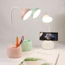 Bowl Shape LED Desk Light with USB Charging Port Flexible Goose Neck White/Pink/Green Reading Lighting with Pen Holder Design