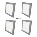 (4 Pack)White/Gray Wireless Flush Mount Recessed with Radar Sensor Hotel 9*9 Inch Square Light Fixture Recessed in White/Warm White