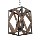 Industrial Square Ceiling Pendant Light with Metal Frame and Candle 4-Lights Hanging Light in Black