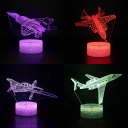7 Color Changing 3D Night Light Touch Sensor Airplane Pattern LED Bedside Lamp with Remote Controller for Boys Gift