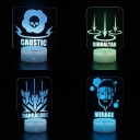 4 Pattern Design LED Night Light Touch Sensor 7 Color Changing Illusion Lamp with Battery and USB Port for Child