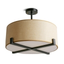 Japanese Style Beige Semi Flush Mount Light with Drum Shade 5 Lights Linen Ceiling Light for Living Room