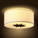 White/Gray Drum Shade Light Fixture 3 Lights Simple Style Fabric Flush Mount Light for Bedroom Dining Room