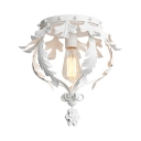 1 Light Crown Shape Flush Mount Light Classic Metal Ceiling Light in White/Gray/Gold for Bedroom Restaurant