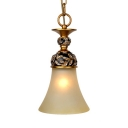 Antique Style Ceiling Light with White Bell Shade 1 Light Resin Frosted Glass Pendant Light for Dining Room