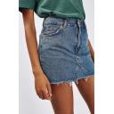 Classic Frayed Hem Solid Color Mini Bodycon Denim Skirt