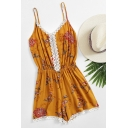 Summer Fancy Yellow Floral Printed Lace-Trim Spaghetti Straps Loose Casual Rompers