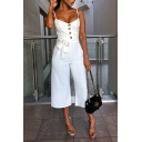 Hot Fashion Simple Solid Color Tied Waist Spaghetti Straps Wide Leg Cropped Pants Jumpsuits